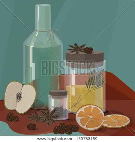 Spa relaxing set with apple , coffee and orange
