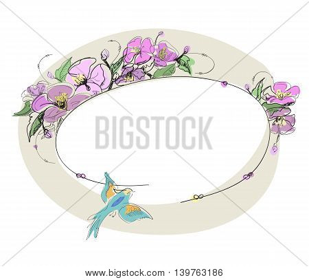 Oval photo frame with flowers and birds