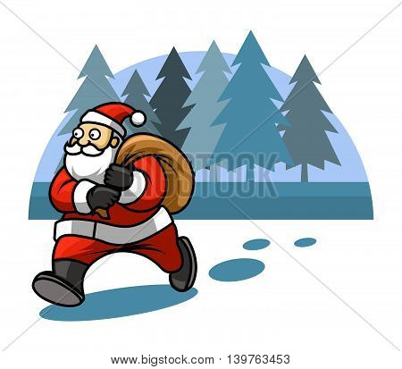 Illustration of walking Santa on pine forest