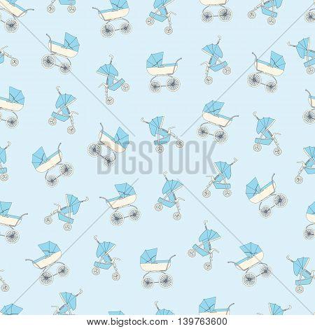 Background blue cartoon children's stroller for a newborn baby boy.