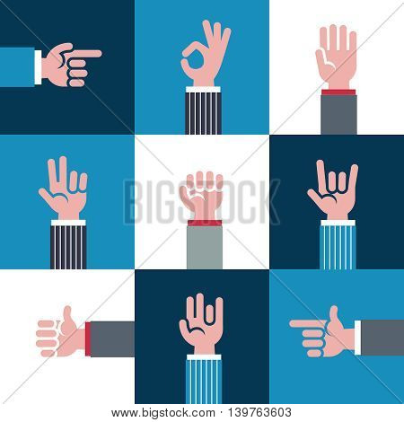 Hand vector icons and symbols, emoji, different hands gestures, signals and signs illustration