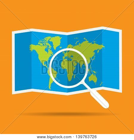 Word map with magnifying glass with shadow. Vector illustration design travel concept.