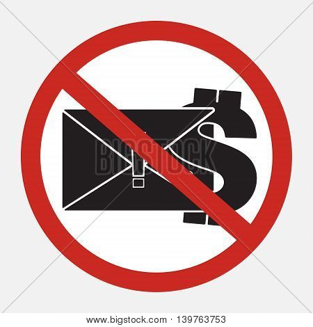Restrict sign no blackmail ransom latter request money. Vector illustration restrict sign concept design.