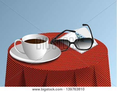 Glasses, cup of coffee and envelope with a card on a red tablecloth with white spotted, vector illustration