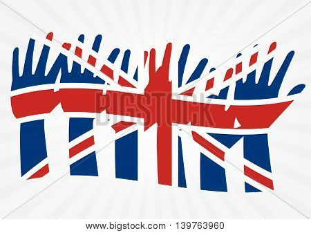 Raise hands with flags of the United Kingdom on white sun rays background to illustrate the exits of great Britain from EU. Vector illustration of Brexit concept design.
