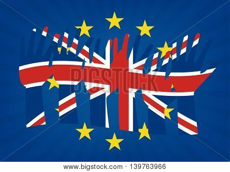 Raise hands with flags of the United Kingdom on European Union flag with sun rays background to illustrate the exits of great Britain from EU. Vector illustration of Brexit concept design.