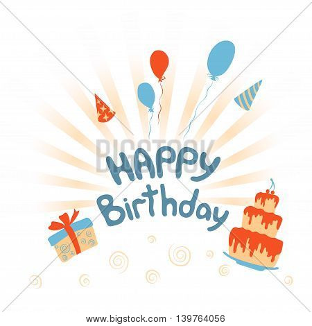 Happy Birthday vector card with cake, gift and balloons