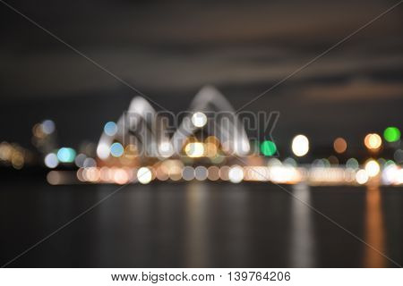 Out of focus bokeh lights background of Sydney Harbour