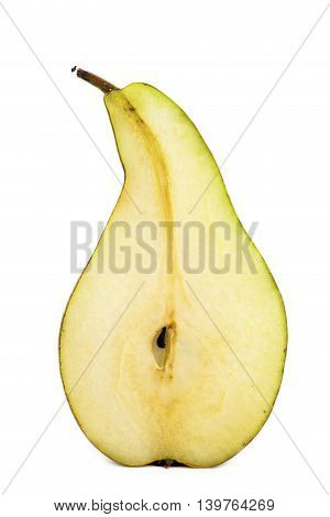 Half of pear on white background close-up