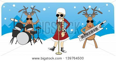 cartoon Christmas card. Maiden sings reindeer play musical instruments
