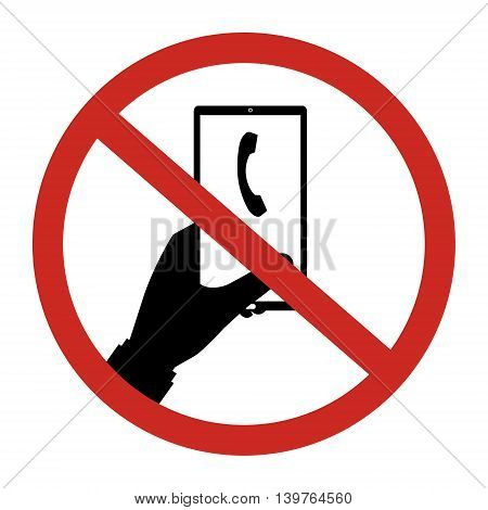 No phone call allow to use restrict sign isolated on white background. Vector illustration prohibited circle design.