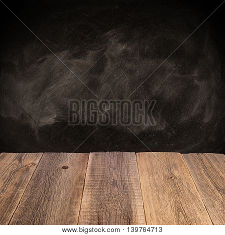 wooden top and dark space Texture of wood background closeup