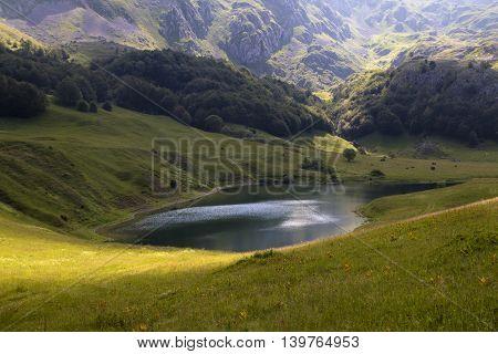 Orlovacko lake in Sutjeska national park Zelengora mountain