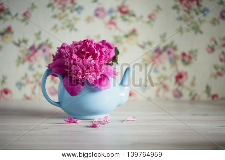 Bouquet of pink peonies in turquoise teapot copy space