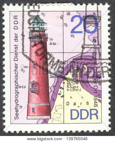 MOSCOW RUSSIA - JANUARY 2016: a post stamp printed in DDR shows the Darsser Ort lighthouse the series