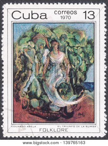 MOSCOW RUSSIA - CIRCA FEBRUARY 2016: a post stamp printed in CUBA shows painting