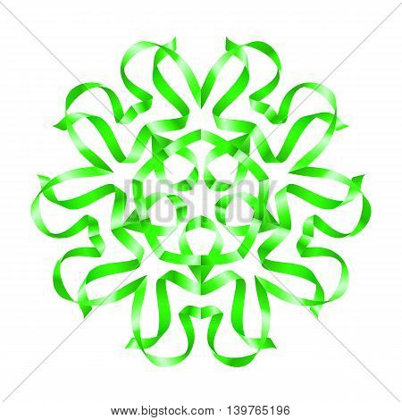 Beautiful green flower of swirled ribbon on white background