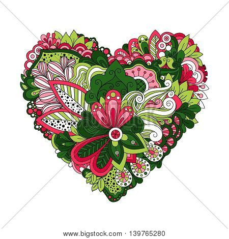 Floral heart shape with hand drawn doodle summer flowers. Vector illustration
