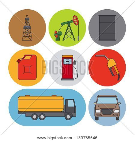 Oil industry flat line icons. Gasoline, petroleum and fuel signs. Vector illustration