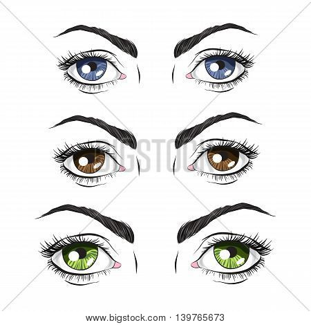 Set of three pairs of eyes green blue and Brown vector illustration