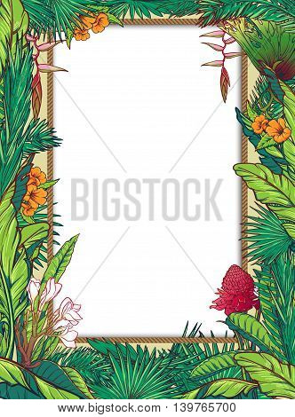 Tropical Floral circular Frame . Banana and palm tree leaves, exotic flowers. Greeting card, flyer or invitation design template.