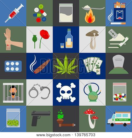 Alcohol, drugs and tabac colored flat vector icons