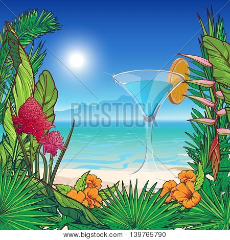 Tropical Floral Frame, tropic beach panorama and coctail glass . Banana and palm tree leaves, exotic flowers. Greeting card, flyer or invitation design template.