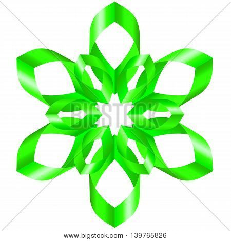 Beautiful green flower with six petal of swirled ribbons on white background