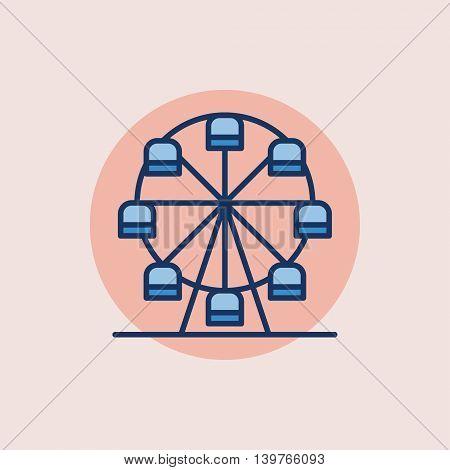Ferris wheel flat icon - vector carousel symbol or sign