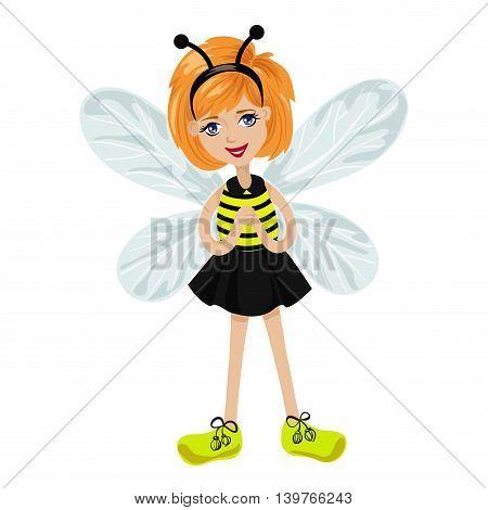 fairy-bee a little girl. Isolated vector illustration