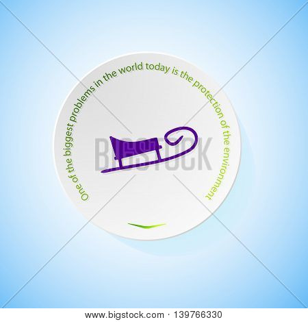 Environmental icons depicting sledge with shadow, abstract vector illustration