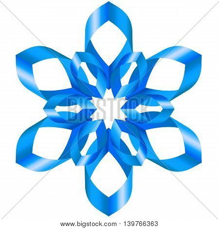 Ornate blue ribbons with a flower on a white background