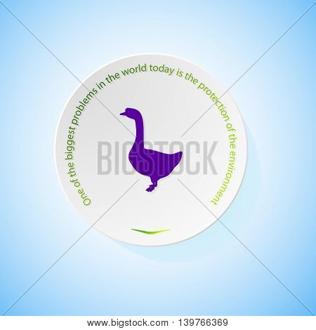 Environmental icons depicting goose with shadow, abstract vector illustration
