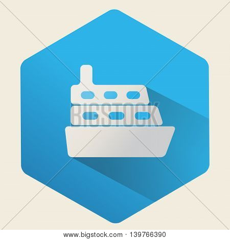 Vector icon of a ship on a blue background. Flat design