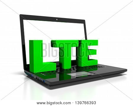 LTE symbol on a laptop computer, high-speed wireless communication concept