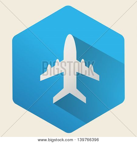 Vector plane icon on a blue background, flat design.