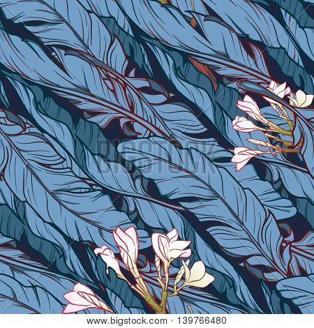 White banana plant leavs and frangipani flower on a dark blue background. Tropical jungle. Seamless pattern with Irregular distribution of elements. Diagonal rythm. EPS10 vector illustration.