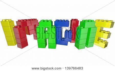 Imagine Dream Toy Blocks Word Letters 3d Illustration