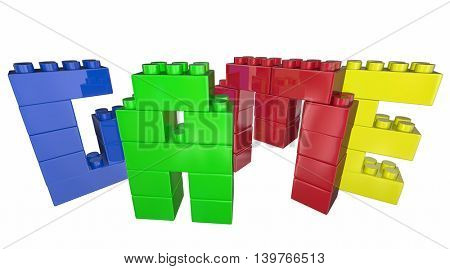 Game Toy Blocks Play Together Fun Word 3d Illustration