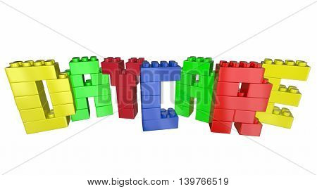 Daycare Child Care Center Toy Blocks Word 3d Illustration