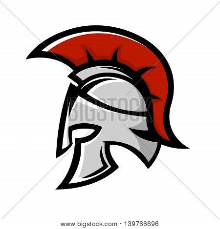 Spartan warrior helmet. Sports team emblem template. Design element for logo label emblem sign. Vector illustration.