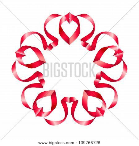 Red ornate ribbon with a flower on a white background