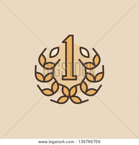 Number One flat icon. Vector first place colorful concept symbol. Winner sign or logo element