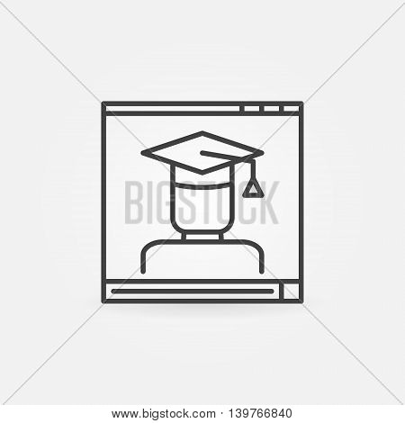 Online education linear icon. Vector video player with student concept sign. Thin line e-learning symbol