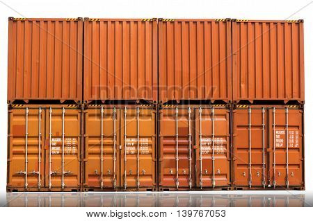 Yard of cargo container shipping on isolation white background.