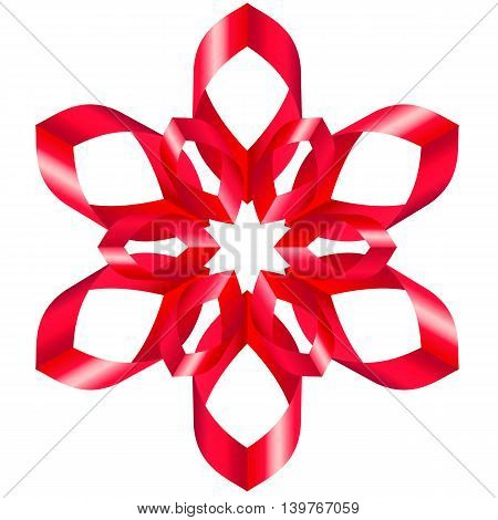 Beautiful flower with six petal of swirled ribbons on white background