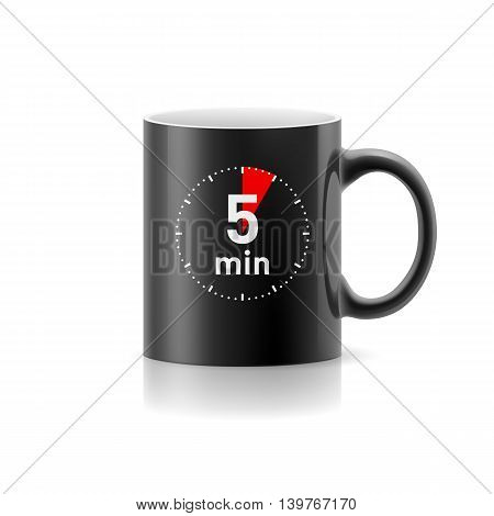 Black cup with picture timer on background
