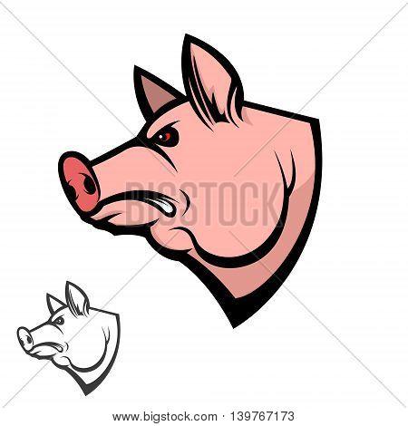 pig head. Design element for logo label emblem sign badge. Vector illustration.
