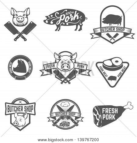 Set of butcher shop fresh pork labels. Design element for logo label emblem sign mark. Vector illustration.