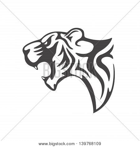 tiger head tattoo template on white background Vector illustration